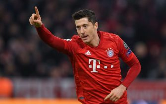 Bayern Munich's Polish forward Robert Lewandowski celebrates scoring the opening goal during the UEFA Champions League Group B football match FC Bayern Munich v Olympiakos in Munich, southern Germany, on November 6, 2019. (Photo by Christof STACHE / AFP) (Photo by CHRISTOF STACHE/AFP via Getty Images)