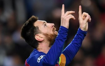 BARCELONA, SPAIN - NOVEMBER 27: Lionel Messi of FC Barcelona celebrates scoring his side's second goal during the UEFA Champions League group F match between FC Barcelona and Borussia Dortmund at Camp Nou on November 27, 2019 in Barcelona, Spain. (Photo by Etsuo Hara/Getty Images)