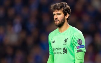 GENK, BELGIUM - OCTOBER 23: goalkeeper Alisson of FC Liverpool looks on during the UEFA Champions League group E match between KRC Genk and Liverpool FC at Luminus Arena on October 23, 2019 in Genk, Belgium. (Photo by TF-Images/Getty Images)