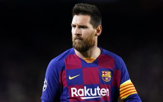 BARCELONA, SPAIN - NOVEMBER 05: Lionel Messi of FC Barcelona looks on during the UEFA Champions League group F match between FC Barcelona and Slavia Praha at Camp Nou on November 05, 2019 in Barcelona, Spain. (Photo by Quality Sport Images/Getty Images)