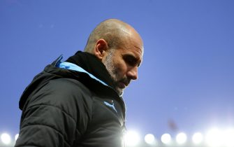 BIRMINGHAM, ENGLAND - JANUARY 12: Pep Guardiola, Manager of Manchester City looks on during the Premier League match between Aston Villa and Manchester City at Villa Park on January 12, 2020 in Birmingham, United Kingdom. (Photo by Catherine Ivill/Getty Images)