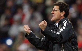 Madrid, SPAIN: Real Madrid's Italian coach Fabio Capello shouts instructions to his players during the first leg of a last 16 Champions League football match against Bayern Munich at the Santiago Bernabeu stadium in Madrid, 20 February 2007. Real Madrid won 3-2. AFP PHOTO/JAVIER SORIANO (Photo credit should read JAVIER SORIANO/AFP via Getty Images)