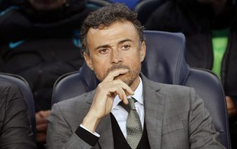 coach Luis Enrique of FC Barcelonaduring the UEFA Champions League quarter final match between FC Barcelona and Juventus FC on April 19, 2017 at the Camp Nou stadium in Barcelona, Spain.(Photo by VI Images via Getty Images)