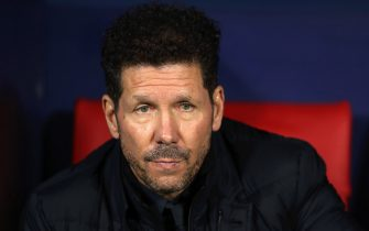 MADRID, SPAIN - FEBRUARY 18: Diego Simeone, Manager of Atletico Madrid looks on prior to the UEFA Champions League round of 16 first leg match between Atletico Madrid and Liverpool FC at Wanda Metropolitano on February 18, 2020 in Madrid, Spain. (Photo by Angel Martinez/Getty Images)