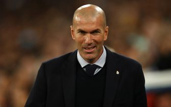MADRID, SPAIN - FEBRUARY 26: Zinedine Zidane of Real Madrid during the UEFA Champions League round of 16 first leg match between Real Madrid and Manchester City at Bernabeu on February 26, 2020 in Madrid, Spain. (Photo by Robbie Jay Barratt - AMA/Getty Images)
