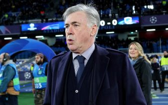 NAPLES, ITALY - DECEMBER 10: Carlo Ancelotti head coach of SSC Napoli looks on during the UEFA Champions League group E match between SSC Napoli and KRC Genk at Stadio San Paolo on December 10, 2019 in Naples, Italy. (Photo by MB Media/Getty Images)