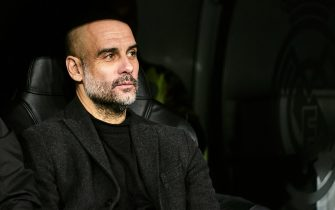MADRID, SPAIN - FEBRUARY 26: Josep Guardiola, manager of Manchester City during the UEFA Champions League round of 16 first leg match between Real Madrid and Manchester City at Bernabeu on February 26, 2020 in Madrid, Spain. (Photo by Sonia Canada/Getty Images)