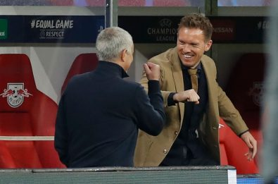 Mourinho-Nagelsmann, saluto anti-contagio a Lipsia