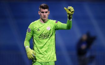 ZAGREB, CROATIA - SEPTEMBER 18: GNK Dinamo goalkeeper Dominik Livakovic reacts during the UEFA Champions League group C match between GNK Dinamo and Atalanta B.C. at Maksimir Stadium on September 18, 2019 in Zagreb, Croatia. (Photo by Igor Soban/Pixsell/MB Media)
