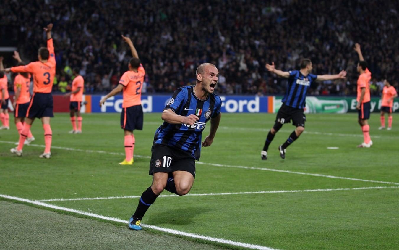 Inter-Barcellona 2010: l'esultanza di Wesley Sneijder