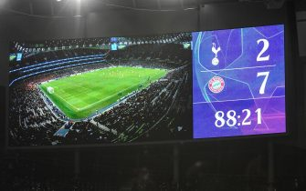 epa07887495 A view of the screen during the UEFA Champions League Group B soccer match between Tottenham Hotspur and Bayern Munich in London, Britain, 01 October 2019.  EPA/ANDY RAIN