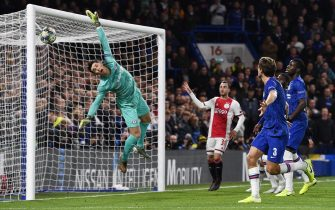 epaselect epa07975045 Goalkeeper Kepa of Chelsea is beaten as Ajax score their third goal during the UEFA Champions League Group H match between Chelsea FC and Ajax Amsterdam in London, Britain, 05 November 2019.  EPA/NEIL HALL