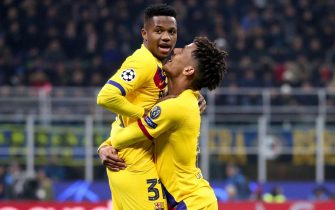 FC Barcelona's forward  Ansu Fati jubilates after scoring goal with FC Barcelona's defender Jean-Clair Todibo during the Uefa Champions League group F soccer match Inter FC vs FC Barcelona at the Giuseppe Meazza Stadium in Milan, Italy, 10 December 2019. ANSA / ROBERTO BREGANI