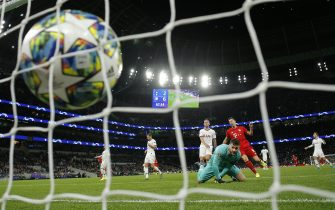 A shot from Bayern striker Serge Gnabry hits the back of the net giving Bayern Munich their 7th goal in the 7-2 victory over Spurs during the Tottenham Hotspur v Bayern Munich Champions League group match at the new Spurs Stadium on October 1st 2019 in London (Photo by Tom Jenkins)