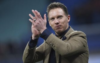 epa08284727 Leipzig's head coach Julian Nagelsmann reacts after the UEFA Champions League round of 16, second leg soccer match between RB Leipzig and Tottenham Hotspur in Leipzig, Germany, 10 March 2020.  EPA/FILIP SINGER