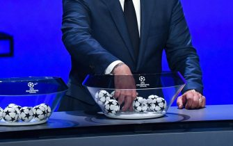 epa07802654 The draw for the UEFA Champions League 2019-20 Group Stage is under way in Monaco, 29 August 2019.  EPA/ALEXANDRE DIMOU