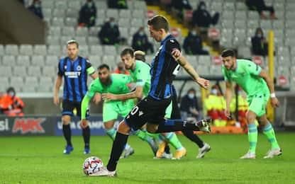 Vanaken risponde a Correa: Bruges-Lazio 1-1