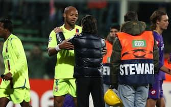 ©Paolo Nucci - LaPresse25-11-2008 FirenzeSport Calcio Champions League 08-09 Fiorentina-Lionenella foto: Boumsong e Prandelli a fine partita