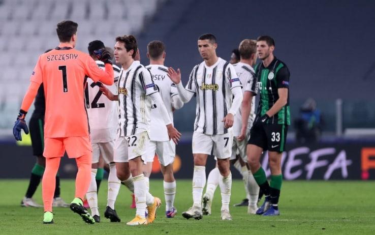 La Juventus festeggia il gol in Champions