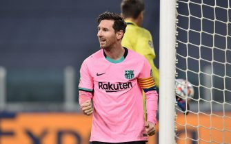 Barcelona's Lionel Messi jubilates after scoring the goal (0-2) during the Uefa Champions Legue soccer match Juventus FC vs Barcelona FC at the Allianz stadium in Turin, Italy, 28 October 2020.ANSA/ALESSANDRO DI MARCO