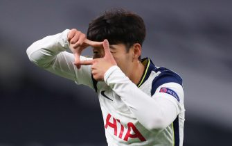 epa08766423 Son Heung-min of Tottenham celebrates after scoring the 3-0 lead during the UEFA Europa League group J soccer match between Tottenham Hotspur and LASK in London, Britain, 22 October 2020.  EPA/Cath Ivill / POOL