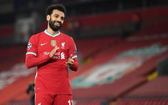 epa08856075 Liverpool's Mohamed Salah reacts during the UEFA Champions League group D soccer match between Liverpool FC and Ajax Amsterdam in Liverpool, Britain, 01 December 2020.  EPA/Michael Regan / POOL