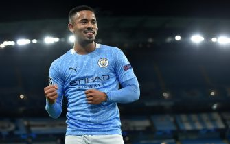 epa08797200 Manchester City's Gabriel Jesus celebrates after scoring the 2-0 goal during the UEFA Champions League group C soccer match between Manchester City and Olympiacos Piraeus in Manchester, Britain, 03 November 2020.  EPA/Peter Powell