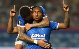 epaselect epa08784733 Alfredo Morelos of Rangers celebrates with teammate James Tavernier after scoring the opening goal during the UEFA Europa League group D match between Glasgow Rangers and Lech Poznan in Glasgow, Britain, 29 October 2020.  EPA/Robert Perry / POOL