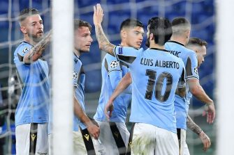 Lazio's Italian forward Ciro Immobile (2ndL) celebrates with teammates after scoring a penalty kick during the UEFA Champions League Group F football match Lazio Rome vs Club Brugge on December 8, 2020 at the Olympic stadium in Rome. (Photo by Tiziana FABI / AFP) (Photo by TIZIANA FABI/AFP via Getty Images)