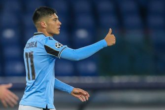 ROME, ITALY - DECEMBER 08: Joaquin Correa of SS Lazio celebrates after scoring a goal during the UEFA Champions League Group F stage match between SS Lazio and Club Brugge KV at Stadio Olimpico on December 08, 2020 in Rome, Italy. Sporting stadiums around Italy remain under strict restrictions due to the Coronavirus Pandemic as Government social distancing laws prohibit fans inside venues resulting in games being played behind closed doors. (Photo by Giampiero Sposito/Getty Images)