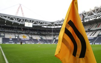 A Juventus branded corner flag pictured in this general view of the stadium prior to the UEFA Womens Champions League match at Juventus Stadium, Turin. Picture date: 9th December 2020. Picture credit should read: Jonathan Moscrop/Sportimage via PA Images