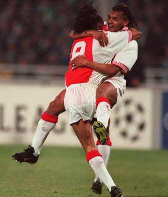 Edgar David's celebrates with Nordin Wooter after scoring Ajax's third goal  (Photo by Tony Marshall/EMPICS via Getty Images)