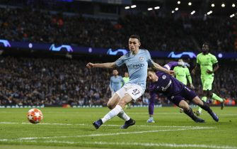 """12.03.19 Manchester City v FC Schalke 04, Champions League, Last 16, 2nd leg. Phil Foden Rounds the Goal keeper to score city 6th Goal  Material must be credited """"The Times/News Licensing"""" unless otherwise agreed. 100% surcharge if not credited. Online rights need to be cleared separately. Strictly one time use only subject to agreement with News Licensing"""