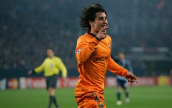 GELSENKIRCHEN, GERMANY - APRIL 01:  Bojan Krkic of Barcelona celebrates after scoring his first goal during the UEFA Champions League quarter final first leg match between FC Schalke 04 and FC Barcelona at the Veltins Arena on April 1, 2008 in Gelsenkirchen, Germany.  (Photo by Christof Koepsel/Bongarts/Getty Images)