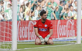 epa06280725 Alaves' goalkeeper Fernando Pacheco reacts during the Spanish Primera Division soccer match between Real Betis and Deportivo Alaves at the Benito Villamarin stadium in Seville, Spain, 21 October 2017.  EPA/JULIO MUNOZ