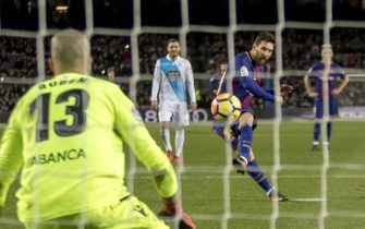 Leo Messi during the spanish league match between FC Barcelona and Deporitvo de La Coruña at the Camp Nou Stadium in Barcelona, Catalonia, Spain on December 17,2017 (Photo by Miquel Llop/NurPhoto via Getty Images)