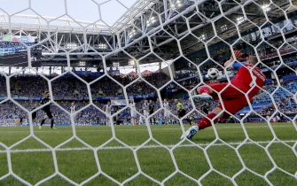 epa06813212 Goalkeeper Hannes Halldorsson of Iceland saves the penalty of Lionel Messi of Argentina during the FIFA World Cup 2018 group D preliminary round soccer match between Argentina and Iceland in Moscow, Russia, 16 June 2018.(RESTRICTIONS APPLY: Editorial Use Only, not used in association with any commercial entity - Images must not be used in any form of alert service or push service of any kind including via mobile alert services, downloads to mobile devices or MMS messaging - Images must appear as still images and must not emulate match action video footage - No alteration is made to, and no text or image is superimposed over, any published image which: (a) intentionally obscures or removes a sponsor identification image; or (b) adds or overlays the commercial identification of any third party which is not officially associated with the FIFA World Cup)  EPA/YURI KOCHETKOV   EDITORIAL USE ONLY