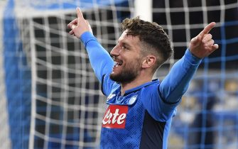 Napoli's Dries Mertens jubilates after scoring the goal during the first leg of the UEFA Champions League round of 16 soccer match SSC Napoli vs FC Barcelona at the San Paolo stadium in Naples, Italy, 25 February 2020. ANSA/CIRO FUSCO
