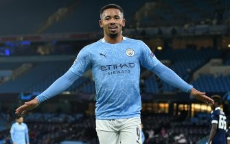 epa08797195 Manchester City's Gabriel Jesus celebrates after scoring the 2-0 goal during the UEFA Champions League group C soccer match between Manchester City and Olympiacos Piraeus in Manchester, Britain, 03 November 2020.  EPA/Peter Powell