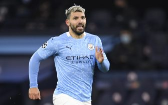 epa08873480 Sergio Aguero of Manchester City during the UEFA Champions League group C soccer match between Manchester City and Olympique Marseille in Manchester, Britain, 09 December 2020.  EPA/Peter Powell / POOL