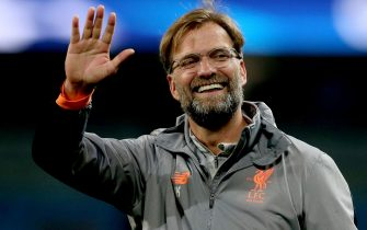 epa06660347 Liverpool's head coach Juergen Klopp reacts after winning the UEFA Champions League quarter final second leg match between Manchester City and FC Liverpool in Manchester, Britain, 10 April 2018.  EPA/Nigel Roddis