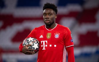 17 March 2021, Bavaria, Munich: Football: Champions League, Bayern Munich - Lazio Roma, knockout round, round of 16, second leg at Allianz Arena. Alphonso Davies of Munich is on the pitch. Photo: Sven Hoppe/dpa