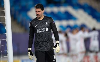 (210407) -- MADRID, April 7, 2021 (Xinhua) -- Liverpool's goalkeeper Alisson Becker reacts during the UEFA Champions League quarterfinal first leg football match between Real Madrid and Liverpool in Madrid, Spain, April 6, 2021. (Xinhua/Meng Dingbo) - Meng Dingbo -//CHINENOUVELLE_0900053/2104070941/Credit:CHINE NOUVELLE/SIPA/2104070942