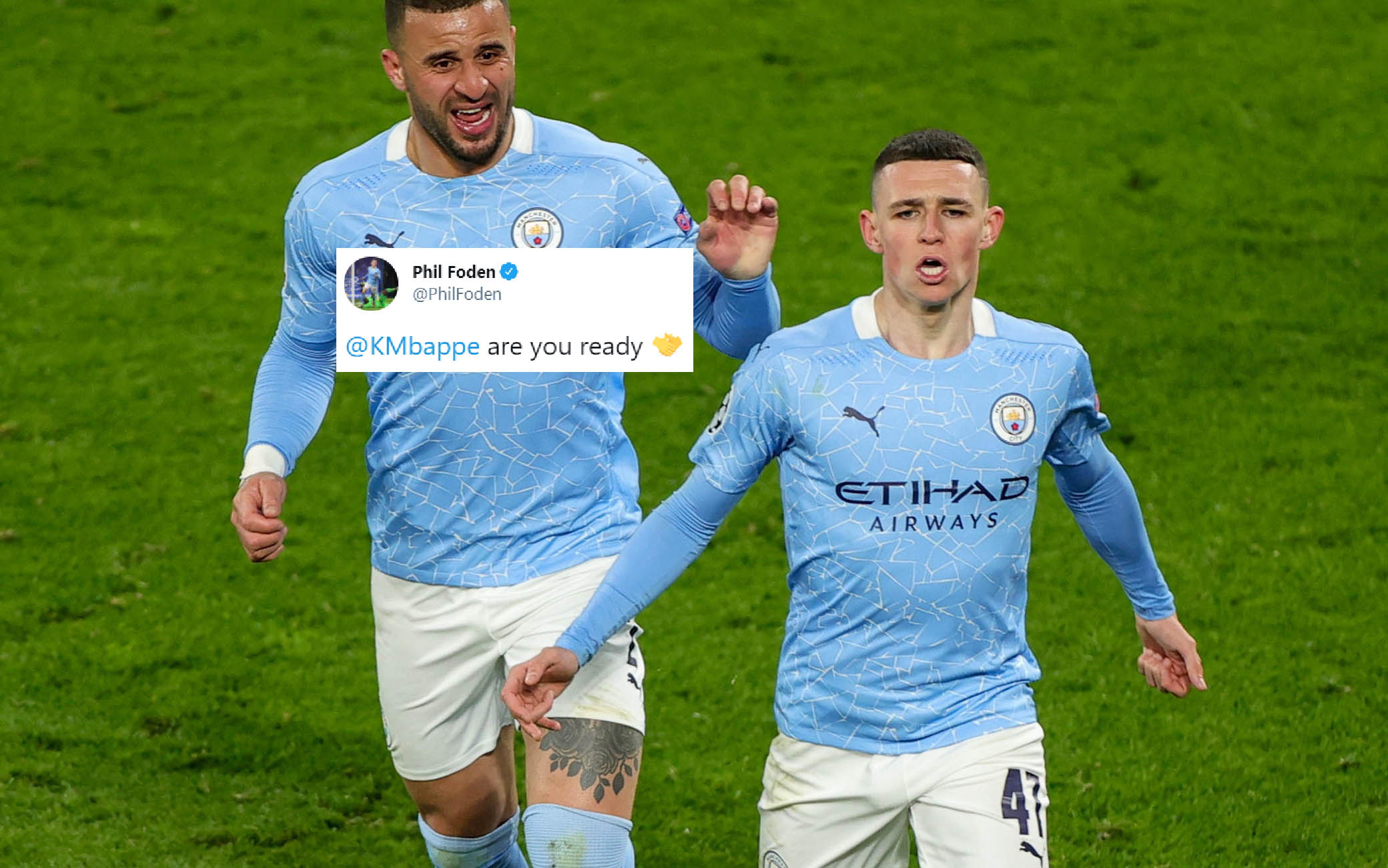 epa09135895 Manchester City's Phil Foden (R) celebrates after scoring the 2-1 with Manchester City's Kyle Walker during the UEFA Champions League quarter final, second leg soccer match between Borussia Dortmund and Manchester City in Dortmund, Germany, 14 April 2021.  EPA/FRIEDEMANN VOGEL / POOL