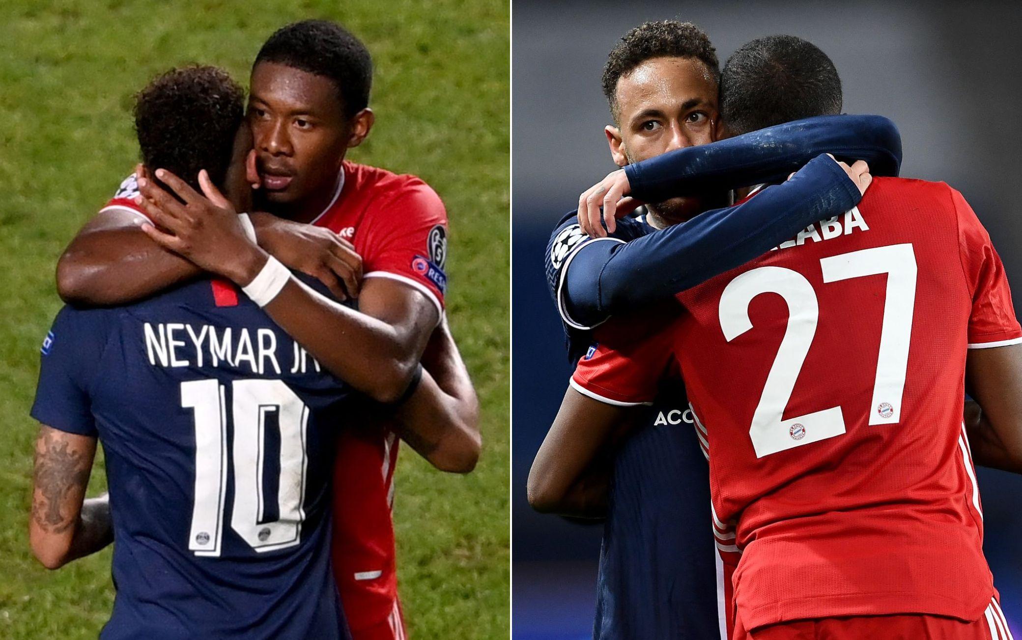 A sinistra l'abbraccio di Alaba a Neymar dopo la finale del 2020. A destra quello di Neymar a Alaba dopo i quarti vinti dal Psg