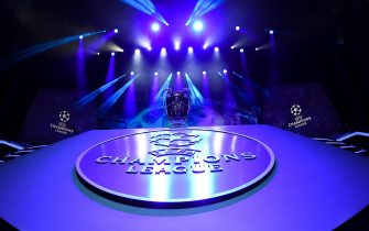 epa07802152 Picture shows the Champions League trophy during the UEFA Champions League 2019-20 Group Stage draw in Monaco, 29 August 2019.  EPA/ALEXANDRE DIMOU