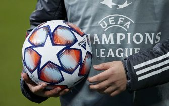 Ball of Champions League during the Champions League match, Group B between Real Madrid and Borussia Monchengladbach played at Alfredo Di Stefano Stadium on December 9, 2020 in Madrid, Spain. (Photo by Ruben Albarran/PRESSINPHOTO)