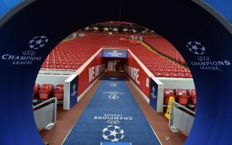 epa07974762 View of the stadium ahead of the UEFA Champions League Group E soccer match between Liverpool FC and Genk at the Anfield stadium in Liverpool, Britain, 05 November 2019.  EPA/PETER POWELL