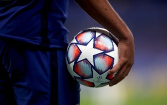 A general view of an official match ball in use during the Champions League match at Stamford Bridge, London.