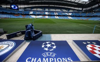 epa08543027 (FILE) - General view of the Etihad Stadium before the UEFA Champions League soccer match between Manchester City and GNK Dinamo Zagreb in Manchester, Britain, 01 October 2019 (reissued 13 July 2020). The international Court of Arbitration for Sport (CAS) on 13 July 2020 lifted the two-year Champions League ban for English Premier League side Manchester City. Manchester City was banned by the UEFA from the Champions League for the two seasons for having broken financial fair play rules.  EPA/NIGEL RODDIS *** Local Caption *** 55513171